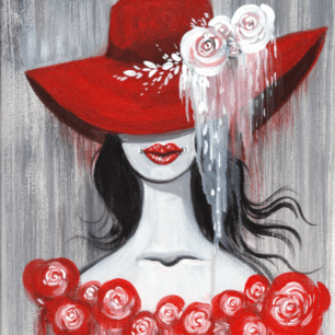 Red Floppy Hat and Roses